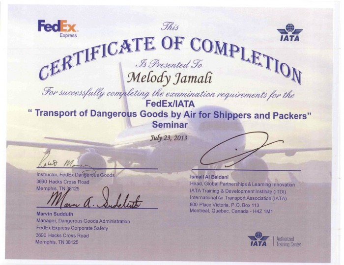 20130723 IATA Certification - Melody Jamali