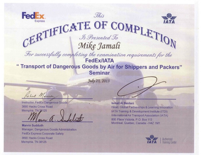 20130723 IATA Certification - Mike Jamali
